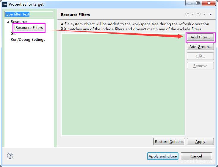 添加资源过滤器的对话框入口界面